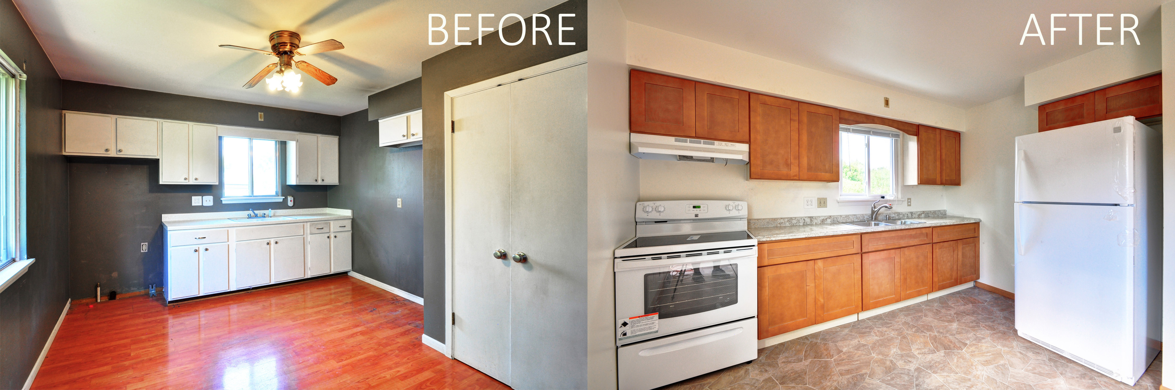 Amazing what a remodel can do for a space, huh? The style of this apartment  was out-dated, it was ready for some modernization and sprucing.